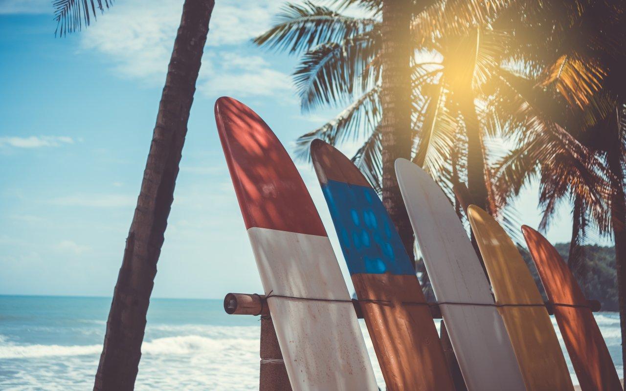 Planches de surf sur une plage du Costa Rica